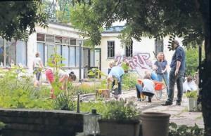 """Arbeitseinsatz Scholle 34 (Klaer) Führungskräfte eines Lebensmittelherstellers helfen am Nachbarschaftsprojekt """"Scholle 34"""" in Potsdam West."""